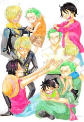 3boys black_hair blonde_hair formal green_hair hair_over_one_eye haramaki hat long_sleeves monkey_d_luffy multiple_boys multiple_persona necktie one-eyed one_piece open_shirt red_shirt robe roronoa_zoro sanji sash scar shorts sitting smile stampede_string straw_hat suit t-shirt tank_top trio vest younger