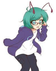 1girl antennae denim glasses green_eyes green_hair hoodie jeans mazume pants short_hair simple_background smile solo touhou wriggle_nightbug
