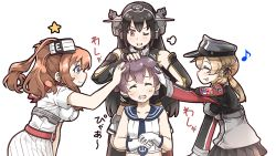 >;d 4girls :d ;d ^_^ ahoge anchor_hair_ornament black_hair blue_eyes breast_pocket brown_hair commentary_request eyes_closed funnels gloves hair_ornament hat headgear kantai_collection light_brown_hair long_hair multiple_girls nagato_(kantai_collection) one_eye_closed open_mouth operation_crossroads orange_eyes peaked_cap petting pleated_skirt pocket ponytail prinz_eugen_(kantai_collection) red_neckerchief sakawa_(kantai_collection) saratoga_(kantai_collection) scarf school_uniform serafuku short_hair skirt smile smokestack tanaka_kusao translation_request twintails white_gloves