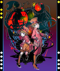 1boy 1girl argyle argyle_background bandage blonde_hair boots brother_and_sister cel_shading chains commentary_request cravat cross detached_sleeves diamond_(shape) embers flower frills grin hair_ornament hairclip halloween halloween_costume hand_on_own_head hat high_heel_boots high_heels holding holding_hat ichi_ka jack-o'-lantern kagamine_len kagamine_rin leaning_forward ponytail pumpkin pumpkin_pants purple_eyes rose shoes short_hair shorts siblings silhouette smile stitches twins vocaloid