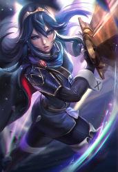 1girl blue_eyes blue_hair cape fire_emblem fire_emblem:_kakusei looking_at_viewer lucina nintendo open_mouth sakimichan solo strap sword