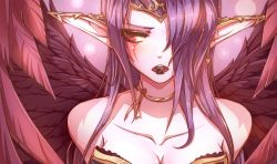 1girl bare_shoulders beancurd breasts chocolate cleavage collar collarbone highres jewelry league_of_legends long_hair morgana open_mouth purple_hair simple_background wings