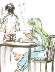 1boy 1girl c.c. code_geass creayus green_hair lelouch_lamperouge long_hair pajamas sitting sketch slippers toast