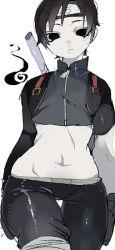 black_eyes black_hair midriff naruto nntr_7_3-midokun sai thigh_gap