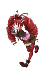 1girl :q antenna_hair blush_stickers boots bow claw_(weapon) claws drill_hair hair_bow high_heel_boots high_heels highres kiraki long_hair long_sleeves micha_jawkan red_hair red_shoes senki_zesshou_symphogear sharp_teeth shoes shorts simple_background smile solo teeth tongue tongue_out twin_drills weapon white_background