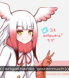 1girl crested_ibis_(kemono_friends) disco_brando english engrish eyebrows_visible_through_hair hair_ornament kemono_friends long_hair long_sleeves looking_at_viewer multicolored_hair ranguage red_hair red_ribbon ribbon smile solo twitter twitter_username two-tone_hair white_coat white_hair winged_hair_ornament wings yellow_eyes