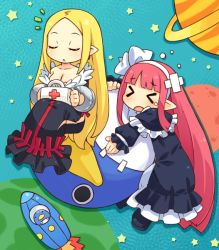 >_< 2girls aqua_background bare_shoulders black_dress blonde_hair bow capelet disgaea dress eyes_closed frills hair_bow hairband healer_(disgaea) long_hair mage_(disgaea) mizuno_mumomo multiple_girls pink_hair planet pointy_ears prinny saturn shoes sitting space_craft strapless_dress tears