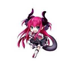 blush chibi fate/extra fate/extra_ccc green_eyes happy horns kuena lancer_(fate/extra) long_hair pink_hair warrior