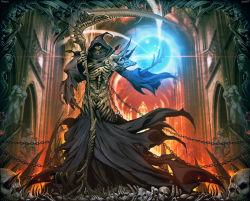 1boy chains commentary death_(entity) genzoman grim_reaper hood magic male original robe scythe signature single_spaulder skull spikes underworld