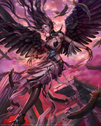 1girl armlet bird black_feathers black_wings brown_eyes brown_hair claws cloud column copyright_name earrings jewelry long_hair looking_at_viewer mobius_final_fantasy neck_ring o-ring official_art outdoors pillar purple_sky rakuen ruins silk skirt solo square_enix tassel very_long_hair watermark wings