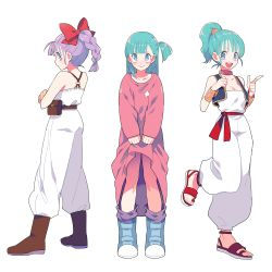 1girl boots bracelet braid breasts bulma choker cleavage costume_chart crossed_arms dragon_ball dress flat_chest gum_(gmng) jewelry looking_back medium_breasts open_mouth pointing ponytail purple_eyes purple_hair sandals side_ponytail simple_background skirt_hold smile standing_on_one_leg white_background