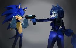 ass blue_eyes blue_hair bodysuit eric_lowery green_eyes krystal nintendo sega sideboob sonic sonic_the_hedgehog star_fox sweat tail weapon