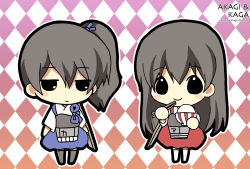 2girls akagi_(kantai_collection) black_eyes chibi chopsticks flight_deck grey_hair hair_ribbon holding japanese_clothes kaga_(kantai_collection) kantai_collection koge_donbo long_hair looking_at_viewer multiple_girls muneate ribbon rice_bowl side_ponytail smile