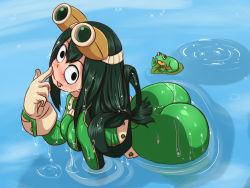 1girl ass asui_tsuyu blush boku_no_hero_academia breasts frog very_long_tongue wet
