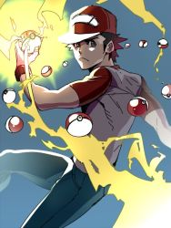 1boy :< blue_background brown_eyes brown_hair denim electricity holding holding_poke_ball jeans looking_at_viewer mabataki male_focus pants poke_ball pokemon pokemon_(game) pokemon_sm red_(pokemon) red_(pokemon)_(sm) shirt simple_background solo t-shirt