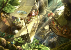 1boy 1girl barrel bird blonde_hair blue_eyes book bridge flower food fruit green_eyes highres ladder lamppost leaf long_hair magic open_mouth original plant poppo_sutchy revision scenery short_hair sitting skirt smile sunlight tree treehouse twintails