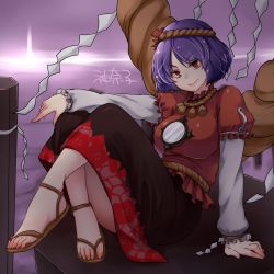 1girl anklet character_name feet hair_ornament jewelry mirror monrooru no_socks purple_hair red_eyes rope sandals shimenawa solo touhou yasaka_kanako zouri