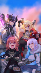 4girls :d armor armored_dress bangs belt belt_buckle belt_pouch black_coat black_gloves blonde_hair blue_eyes blue_gloves blue_legwear blurry blurry_background bodysuit boots breasts brown_boots brown_hair buckle cannon cloud cloudy_sky coat cosplay crazy_eyes crazy_smile demon_horns drone exhaust_pipe eyebrows_visible_through_hair fang faulds floating full_body fur-trimmed_boots fur-trimmed_jacket fur_boots fur_coat fur_trim gabriel_dropout gauntlets glasses gloves hair_between_eyes hair_ornament hair_rings hairclip hairpin hammer hand_on_own_cheek hand_on_own_face hand_up highres holding holding_staff holding_weapon horns imp_mercy jacket knee_boots knee_pads kurumizawa_satanichia_mcdowell legs_together long_hair looking_at_viewer machinery mechanical_arm mechanical_wings mei_(overwatch) mei_(overwatch)_(cosplay) mercy_(overwatch) mercy_(overwatch)_(cosplay) multiple_girls open_mouth outdoors overwatch pants parka polearm ponytail purple_eyes purple_hair purple_wings reaper_(overwatch) reaper_(overwatch)_(cosplay) red_hair ribbed_bodysuit shiraha_raphiel_ainsworth shoes short_hair sidelocks signature sitting skull_hair_ornament sky smile snow_boots snowball_(overwatch) spiked_gauntlets squatting staff steamy_tomato tenma_gabriel_white torbjorn_(overwatch) torbjorn_(overwatch)_(cosplay) trench_coat trident tsukinose_vignette_april turret turtleneck utility_belt weapon white_bodysuit wings winter_clothes winter_coat x_hair_ornament yandere_trance
