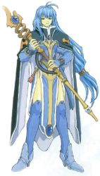 1girl alicia_mcfadden antenna_hair blue_hair boots brave_soul brown_eyes cape long_hair mogudan staff very_long_hair