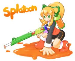 1girl android arm_support bike_shorts blonde_hair capcom crossover green_eyes gun hair_ribbon kumo_(kumo8159) long_sleeves looking_at_viewer nintendo paint payot ponytail ribbon rifle rockman rockman_(classic) roll sniper_rifle solo splatoon weapon