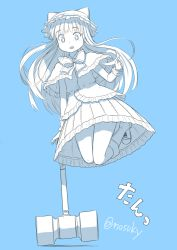 +_+ 1girl animal_hat bangs blue_hair blunt_bangs boots bowtie capelet dress hammer hat jumping long_hair monochrome monochrome_background nosuku open_mouth original ribbon solo symbol-shaped_pupils tagme twitter_username wrist_cuffs