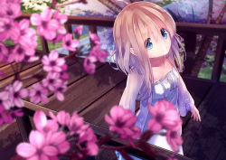 1girl ahoge blonde_hair blue_eyes bridge cherry_blossoms dress kagayan1096 looking_at_viewer original river short_hair_with_long_locks smile solo strapless strapless_dress wooden_bridge