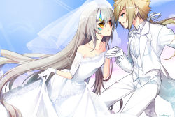 1boy 1girl artist_name bangs bare_shoulders blonde_hair blue_eyes blue_sky blush bow bowtie breasts bridal_gauntlets bridal_veil bride chung_seiker code:_battle_seraph_(elsword) collarbone collared_shirt dress dress_shirt elsword eve_(elsword) eye_contact eyelashes floating_hair forehead_jewel formal from_side gem gloves grey_hair hair_between_eyes hetero holding_hand jacket kuroshio_maki lace-trimmed_dress lace-trimmed_gloves leaning_forward lens_flare light_particles light_rays long_hair long_sleeves looking_at_another low_ponytail off-shoulder_dress off_shoulder pants parted_lips profile ribbon see-through shirt sidelocks skirt_hold sky small_breasts standing tactical_trooper_(elsword) tailcoat tiara tuxedo veil very_long_hair wedding wedding_dress white_bow white_bowtie white_dress white_gloves white_hair white_jacket white_pants white_ribbon white_shirt yellow_eyes