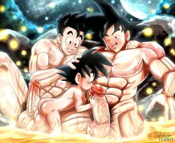 3boys abs age_difference ass bara black_hair dragon_ball dragonball_z erection family father_and_son hand_on_head incest male_focus multiple_boys muscle nude pecs penis shota size_difference smile teeth testicles wet wince yaoi