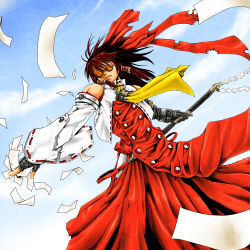 1girl bow brown_hair cloud color_connection cosplay detached_sleeves dutch_angle female fingerless_gloves fusion gloves gohei hair_bow hakurei_reimu highres japanese_clothes ledjoker07 long_hair miko parody sky solo sunglasses touhou trigun vash_the_stampede vash_the_stampede_(cosplay) yin_yang