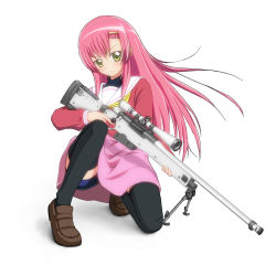 1girl bike_shorts bipod bolt_action doboru_(pixiv20862474) dress gun hayate_no_gotoku! highres katsura_hinagiku long_hair one_knee pink_dress pink_hair pink_skirt rifle scope simple_background skirt sniper_rifle solo thighhighs trigger_discipline weapon white_background