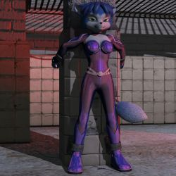 1girl 3d bdsm blue_hair bodysuit bondage krystal nintendo solo star_fox tail