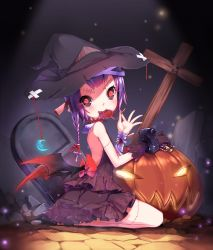 1girl aoi_tsunami bandage black_sclera blood bow braid candy crescent_moon cross demon_wings dress fangs glowing glowing_eyes hair_bow halloween hat highres jack-o'-lantern lollipop moon original purple_hair red_eyes seiza single_glove sitting solo stitches wings witch_hat