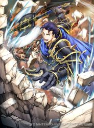 3boys arm_guards armor artist_request axe blue_eyes blue_hair cape company_connection copyright_name fire_emblem fire_emblem:_rekka_no_ken fire_emblem_cipher gauntlets hector_(fire_emblem) holding holding_weapon multiple_boys open_mouth short_hair smile weapon