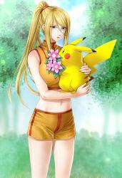 blonde_hair blue_eyes breasts flower highres holding large_breasts metroid midriff navel nintendo pikachu pokemon ponytail samus_aran short_shorts shorts super_smash_bros. tank_top thighs yuino_(fancy_party)