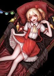 1girl ascot belt blonde_hair coffin collar fangs fingernails flandre_scarlet frilled_collar frills from_above hair_ribbon highres knees_together layered_skirt looking_at_viewer lying nail_polish nishi_masakazu no_hat no_headwear on_back open_clothes open_mouth open_vest petticoat pillow pointy_ears puffy_short_sleeves puffy_sleeves red_eyes red_nails red_skirt red_vest ribbon sharp_fingernails short_hair short_sleeves side_ponytail skirt skirt_lift slit_pupils solo touhou vampire vest wings