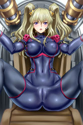 1girl blonde_hair blush bodysuit breasts cameltoe code_geass code_geass:_boukoku_no_akito covered_navel erect_nipples headset highres large_breasts leila_(code_geass) long_hair open_mouth purple_eyes sitting skin_tight solo spread_legs twintails wallpaper youbou