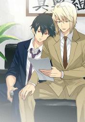 2boys ashiya_shirou black_hair blonde_hair formal fujimura_(marina) hataraku_maou-sama! maou_sadao multiple_boys red_eyes suit yellow_eyes