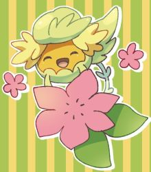 comfey eyes_closed flower jippe no_humans patterned_background pokemon pokemon_(creature) pokemon_(game) pokemon_sm smile striped vertical-striped_background vertical_stripes