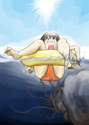 1girl ass barefoot blush feet floating loli monster octopus open_mouth outside peril sea tentacle underwater water