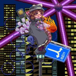 1girl :d brown_eyes brown_hair cape card fire glasses hat hat_ribbon laser lowres muyue_mitsudou occult_ball open_mouth pixel_art ribbon road_sign shirt short_hair sign skull smile touhou usami_sumireko vest