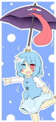 1girl balancing blue_eyes blue_hair female geta heterochromia highres karakasa_obake matching_hair/eyes open_mouth outstretched_arms red_eyes senba_chidori short_hair skirt solo tatara_kogasa tongue tongue_out touhou umbrella
