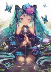 1girl ;o afloat alternate_costume aqua_hair bangs black_hat blue_eyes blue_flower blue_ribbon butterfly butterfly_hair_ornament button_eyes collarbone dangmill detached_sleeves dress eyelashes flower frills hair_ornament hair_ribbon hairband hat hat_flower hatsune_miku highres holding hydrangea lily_pad long_hair looking_at_viewer makeup microphone_stand nail_polish one_eye_closed partially_submerged purple_nails ribbon ripples see-through silk sitting solo spider_web stuffed_animal stuffed_bunny stuffed_toy vocaloid water