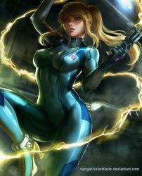 1girl blonde_hair blue_eyes bodysuit gun high_heels long_hair metroid ponytail samus_aran super_smash_bros. vengarlsolarblade weapon zero_suit