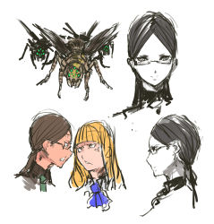 2girls anger_vein bangs black_hair blonde_hair blunt_bangs collage glasses highres insect jojo_no_kimyou_na_bouken long_hair low_twintails multiple_girls nameo_(judgemasterkou) ojou_(nameo) original parted_bangs ringlets semi-rimless_glasses twintails under-rim_glasses