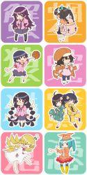6+girls araragi_karen araragi_tsukihi back-to-back bakemonogatari basketball braid cabbie_hat chibi dress gomimizuki hachikuji_mayoi hanekawa_tsubasa hat highres jacket_on_shoulders japanese_clothes kanbaru_suruga kimono long_hair monogatari_(series) multiple_girls nisemonogatari ononoki_yotsugi oshino_shinobu pout school_uniform sengoku_nadeko senjougahara_hitagi short_hair thighhighs twin_braids twintails