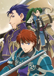 1girl 2boys alternate_costume armor axe blue_eyes blue_hair cape circlet daniel_macgregor eliwood_(fire_emblem) fire_emblem fire_emblem:_rekka_no_ken fire_emblem_if green_eyes green_hair hector_(fire_emblem) lyndis_(fire_emblem) multiple_boys nintendo over_shoulder ponytail red_hair short_hair sword thighhighs watermark weapon weapon_over_shoulder