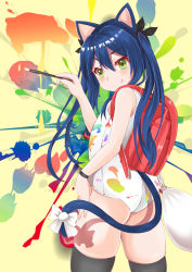 1girl absurdres animal_ears ass backpack bag black_legwear blue_hair cat_ears cat_tail dirty fang from_behind green_eyes highres long_hair looking_back one-piece_swimsuit original paint paint_splatter paintbrush painting randoseru ribbon ryuuki_(ryuki121455) school_swimsuit smile solo swimsuit tail thighhighs twintails white_school_swimsuit white_swimsuit