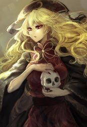 1girl big_hair blonde_hair breasts chinese_clothes fingernails hair_between_eyes hat highres holding_skull junko_(touhou) kyogoku-uru light light_particles long_hair looking_to_the_side nail_polish obi red_nails ribbon sash sharp_nails skull solo square tabard touhou very_long_hair wavy_hair wide_sleeves