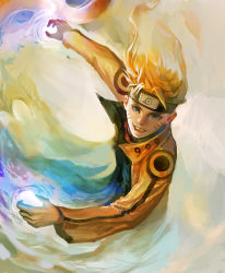 1boy alternate_form aura fanhua glowing looking_at_viewer markings naruto naruto_shippuuden rasengan solo uzumaki_naruto