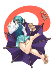 1girl ayakumo barefoot blue_hair geta highres juliet_sleeves karakasa_obake legs long_sleeves looking_at_viewer looking_back puffy_sleeves red_eyes shirt shoes_removed skirt solo tatara_kogasa thighs touhou umbrella upskirt vest